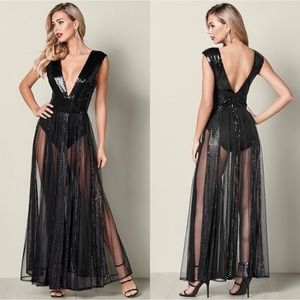 Venus Sheer Sequin Maxi Dress Gown